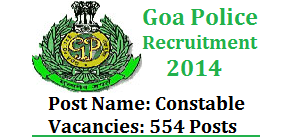 goa police constable recruitment 2014